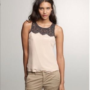 Jcrew Lisette blush silk and lace tank